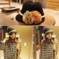 2016 NEW Autumn and winter fashion brand knitting Warm wool hat beanie skullie with Daisy flower accessories