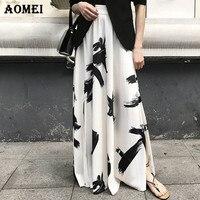 Women Summer Maxi Long Black White Printed Skirts Split Beachwear Vacation Elastic Waist Wrap 2019 New Female Fashion Jupes Saia