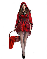 Hot Sexy Little Red Riding Hood Costume Gothic Red Sling Maid Dress With Cloak Fantasia Halloween
