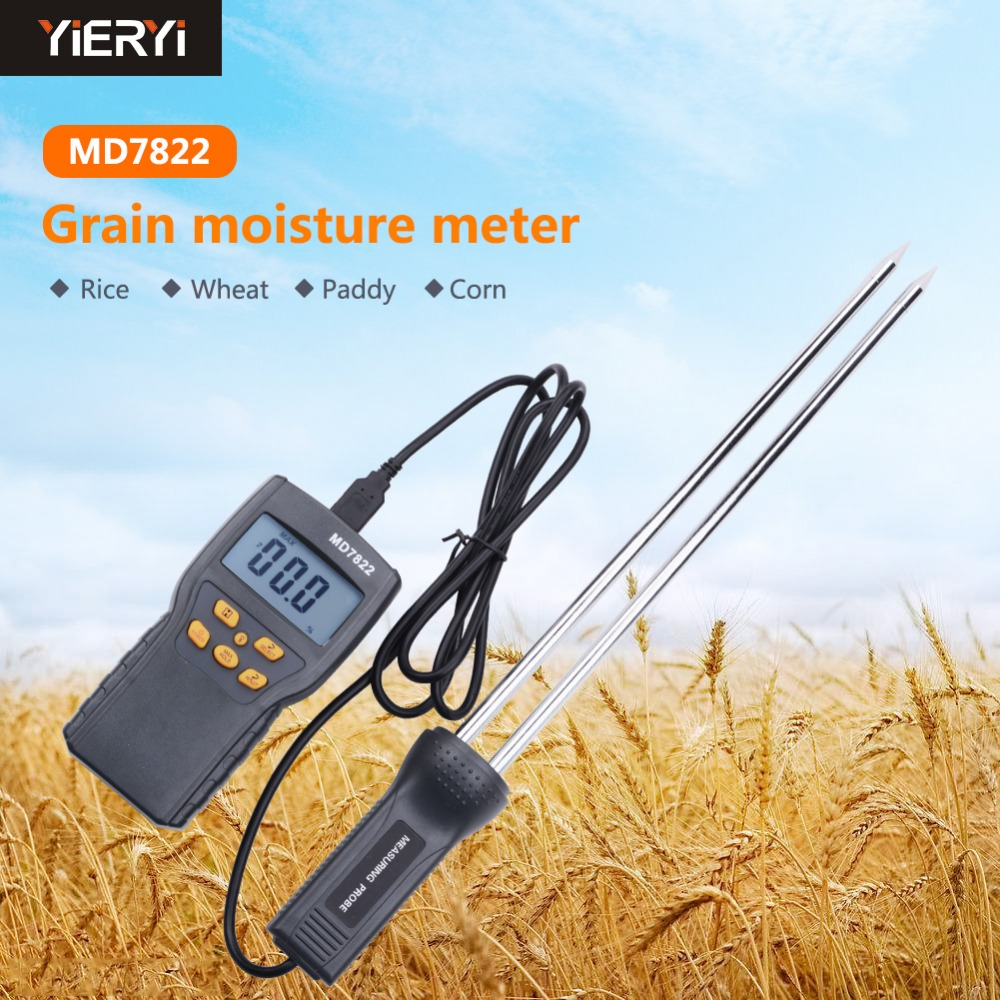 yieryi New MD7822 LCD Display Digital Grain Moisture Meter Humidity Tester Contains Wheat Corn Rice Moisture Test Meteryieryi New MD7822 LCD Display Digital Grain Moisture Meter Humidity Tester Contains Wheat Corn Rice Moisture Test Meter