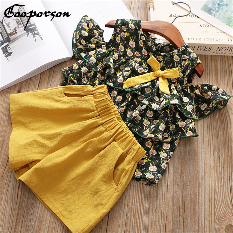 2018 New Summer Girls Clothing Set Fashion Flower Printing Sundress Pearl Bow Shirt+Shorts Suit 2 PCS Baby Girls Clothes set lonsant new 2018 summer baby girls kids girls love heart bow vest t shirt bow plaid shorts set sleeveless round neck clothing