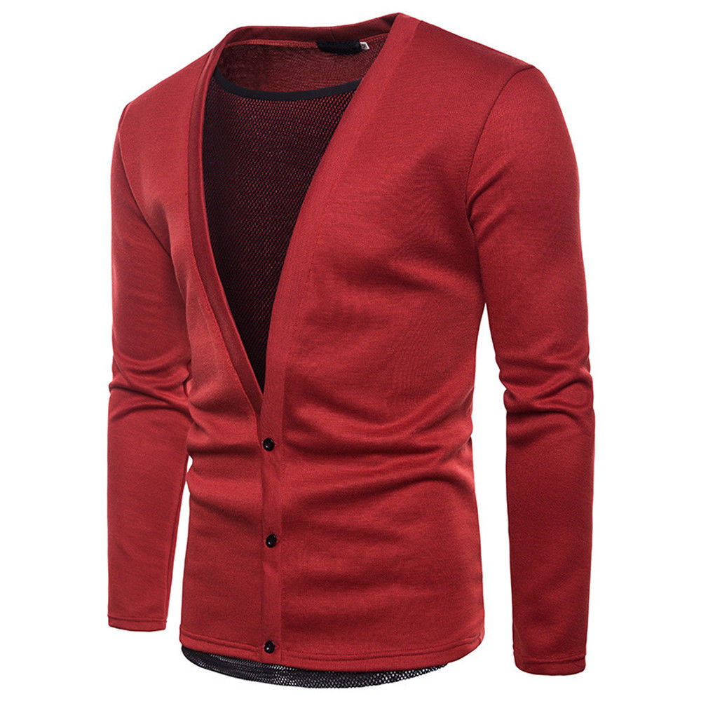 Fashion Men's Long Sleeve Cardigan Mesh Patchwork Sweaters Jumper Knitted Deep V-neck Button Sweater Knit Slim Fit Top Clothes