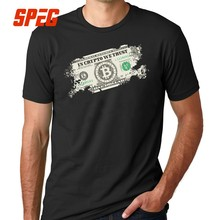 Camiseta en Cripto We Trust Bitcoin US Dollars Vintage cryptocurrency relajado manga corta Tshirs adultos camisetas hombres grandes tamaño(China)