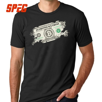 Tee Shirt In Crypto We Trust Bitcoin US Dollars Vintage cryptocurrency Relaxed Short Sleeved Tshirs Adult T Shirts Men Big Size