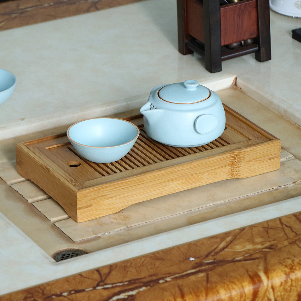 Style 1 White 11 Inch Bamboo Chinese Gongfu Tea Tray Table Box With Water Storage for Kungfu Tea Set