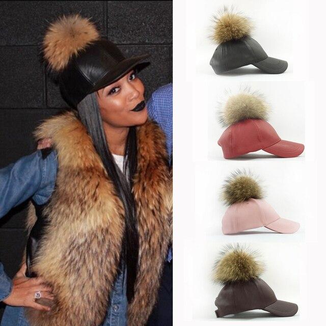 2016 Fashion Real Raccoon Fur Pompoms Hats Hip Hop PU Leather Baseball Cap  women Fur Pom 6c99946ada7