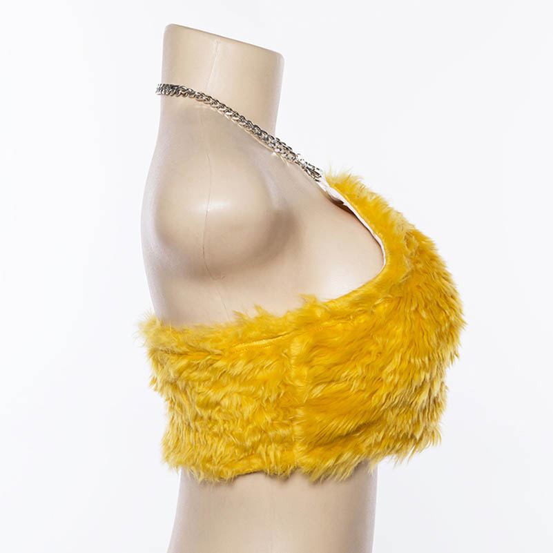 NiceMix Faux Fur Fluffy Halter Backless Sexy Crop Top Women Harajuku Cute Tank Tops Festival Clubwear Fall Winter 2019 Summer in Tank Tops from Women 39 s Clothing