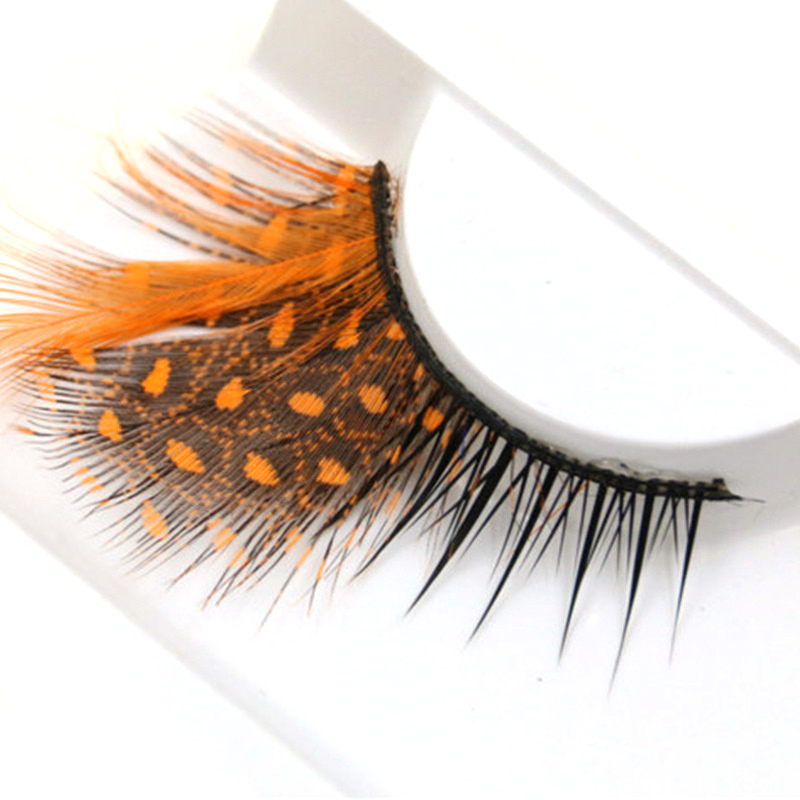 YOKPN Orange Dot False Eyelashes Exaggerated Thick Feather Fake Eyelashes Stage Show Make-up Tools Cross Eye Lashes