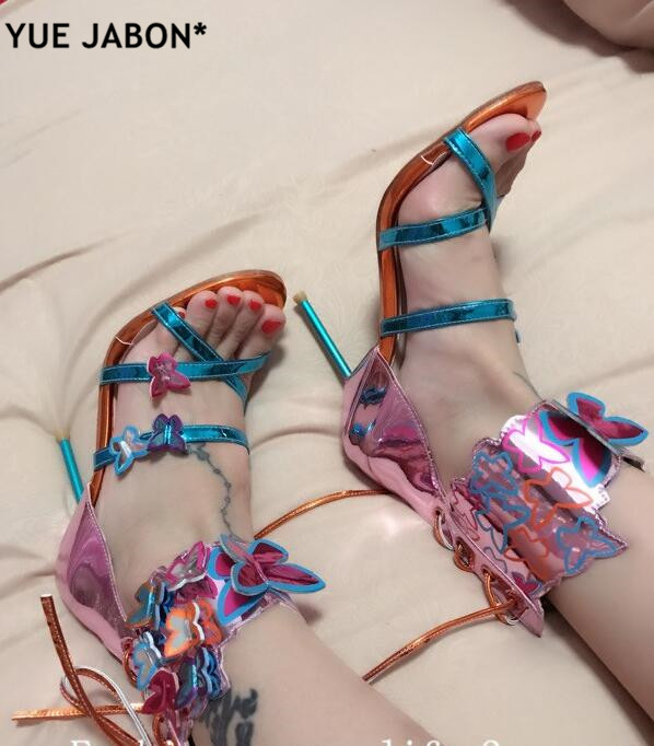 c91f781385fb Newest Lace Up Mixed Colors Sweet butterfly decor Harmony Metallic Leather  Turquoise strap belt Zapatos Mujer Shoes High Heels -in High Heels from  Shoes on ...