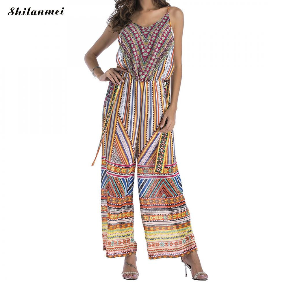 Casual Printing Long Romper Womens Jumpsuit Sexy Backless Straight Overalls Streetwear Loose Long Pants Chiffion Romper Overalls