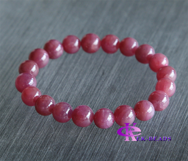 Free Shipping Discount Wholesale Natural Genuine Pink Red Ruby Bracelet Smooth Round beads Finished Stretch Bracelets 10mm 02826