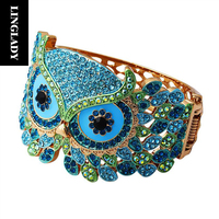 LINGLADY Anime Colorful Owl Face Crystal Rhinestone Bracelet Gold Metal Anti Allergy Wide Charm Bangle For