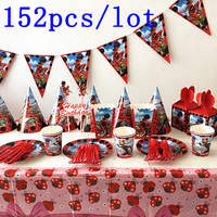 152Pcs/Lot Miraculous Ladybug Disposable Tableware Straw Candy Box Cap Kids Birthday Party Festival Celebrate Decoration Supply