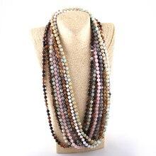 Модное богемное ювелирное длинное ожерелье с Завязанными камнями и бусинами для женщин