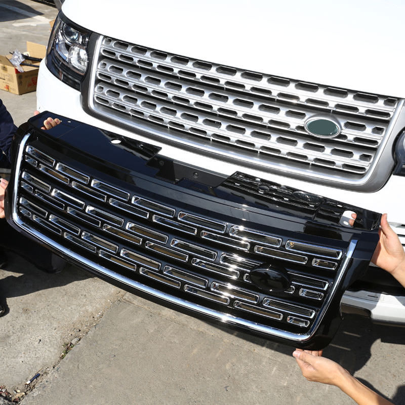 Silver Black Main Body Front Grille Trim Replace For Land Rover Range Rover Vogue 2013-2017 Car Accessories silver front bumper hood center grille for land rover range rover vogue 2014 2015 2016