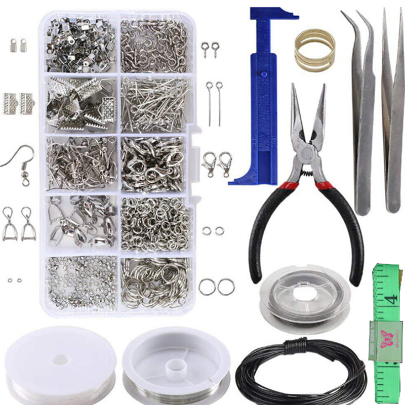 1 Set Large Jewellery Home DIY Making Kit Pliers Silver Beads Wire Starter Tool