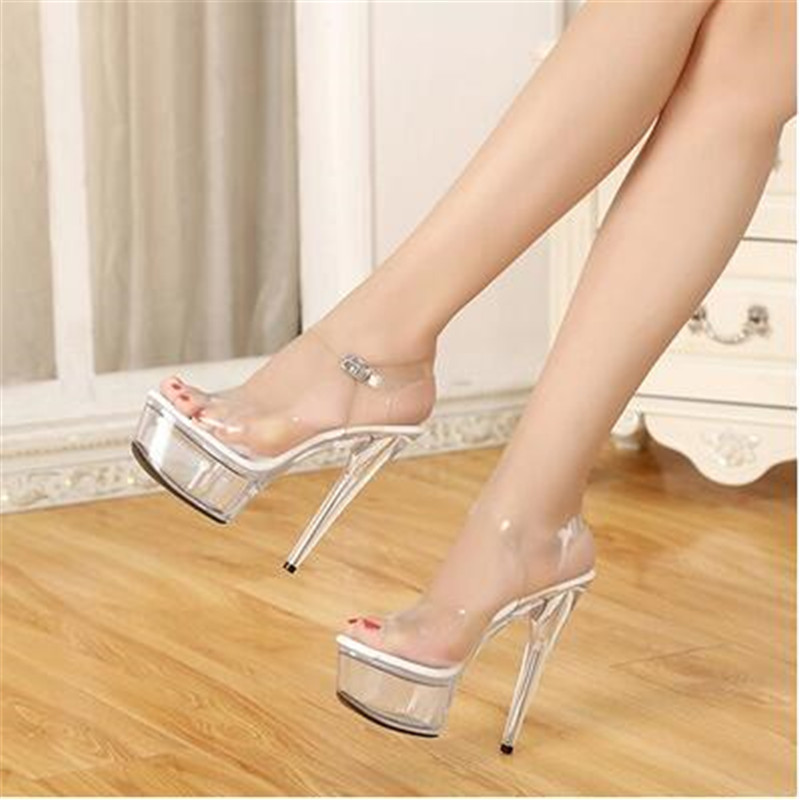 Model Catwalk Shoes Shoes Women Sexy Sandals Non-slip Crystal Transparent Waterproof 15cm Fine with High-heeled Shoe Plus Size