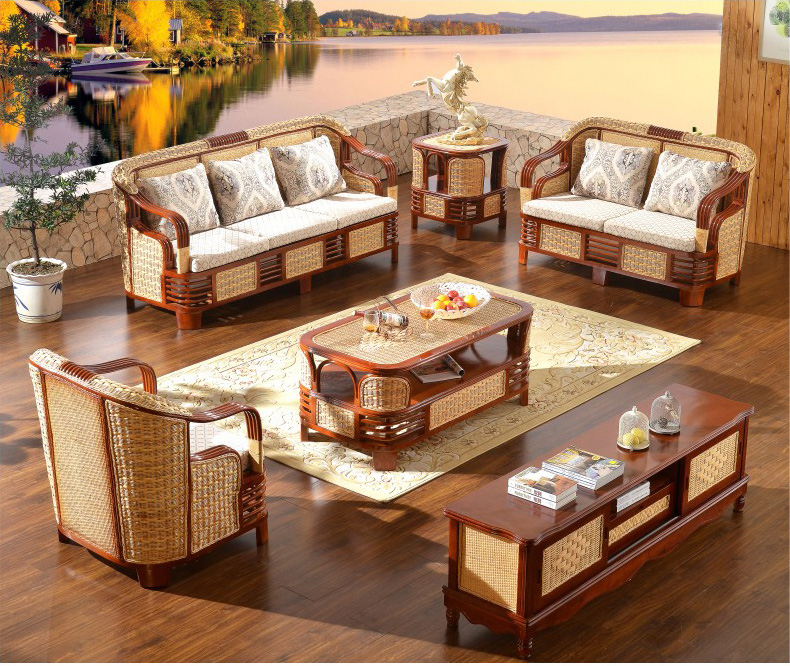 High Quanlity Garden Furniture Patio Furniture Outdoor Rattan Sofa Tea Table Wicker Cushioned Rattan Furnitures
