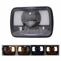 5X7 Inch Led Headlight DRL Amber Turn Signal Light Sealed Beam Rectangula For H4 Plug H6052