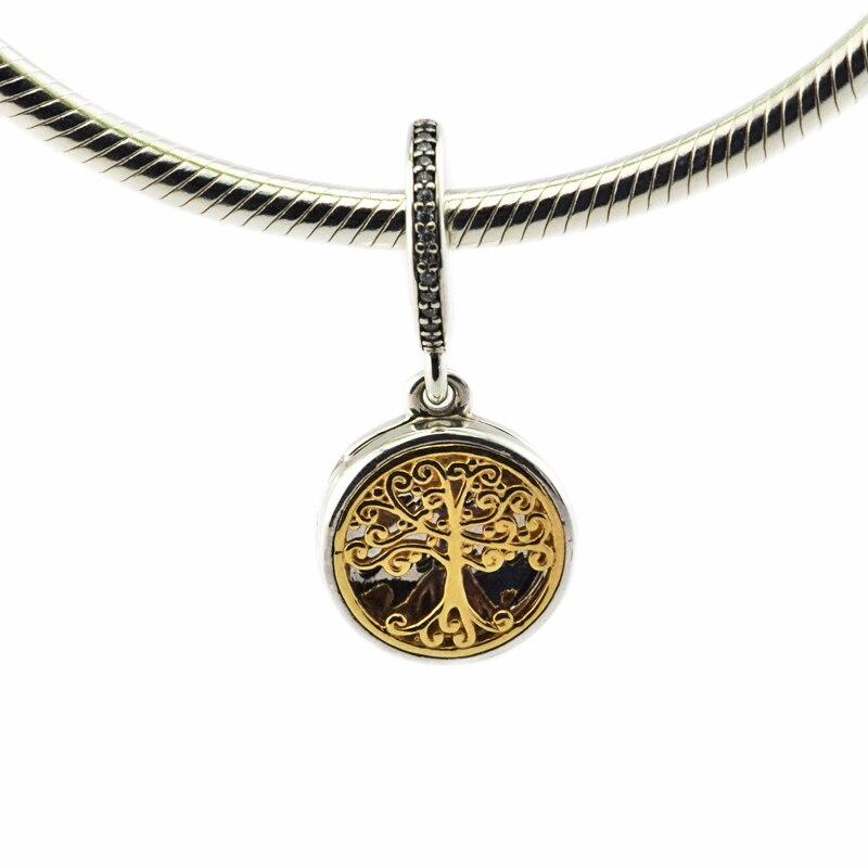 Perles adaptées pour bracelet Pandora 925 en argent Sterling racines de la famille, avec CZ clair bricolage bijoux fins faisant des charmes en or