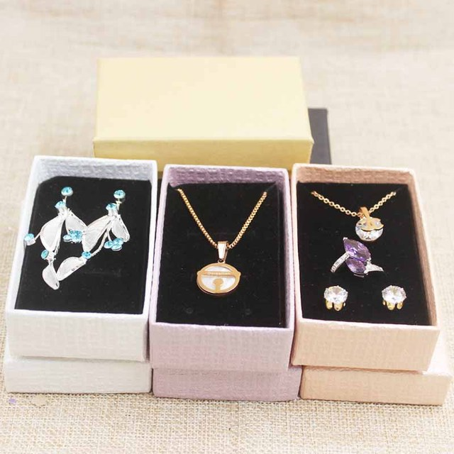 DIY blank purple /white/pink jewerly box ring diaplay box .Paper necklace box.earring package box .bracelet display box 12pcs