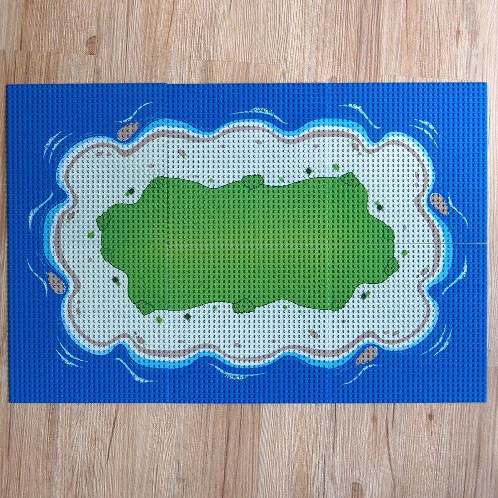 32*32 Dots Plastic Bricks The island Straight Crossroad Curve Green Meadow Road Plate Building Blocks Parts Bricks Toys DIY