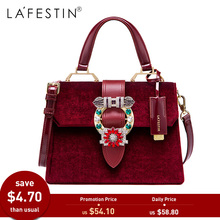 LAFESTIN Women Handbag Shoulder Bag Designer Lock Diamonds Famous Velvet Luxury Totes Multifunction Bag 2018 New brands bolsa