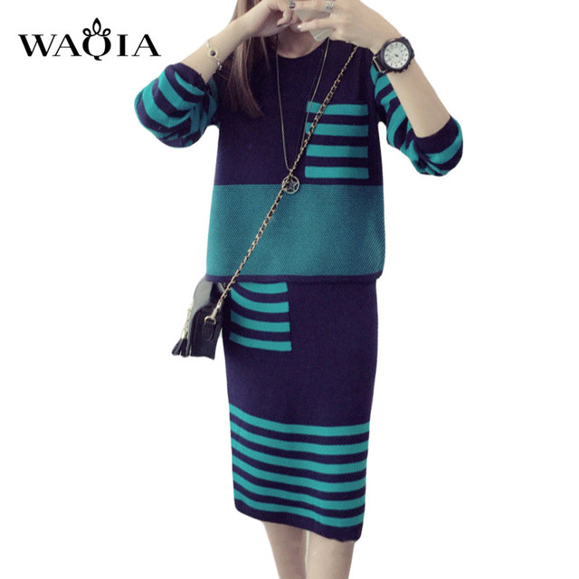 New 2017 Winter 2 Pieces Sweater Dress Set Women Long Sleeve Office Wear  Casual Striped Pullover