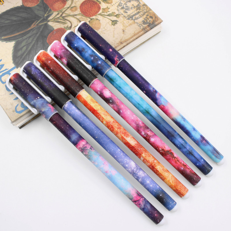 6 Pcs / Set Color Gel Pen Starry Pattern Cute Kitty Hero Roller Ball Pens Stationery Office School Supplies Free Shipping
