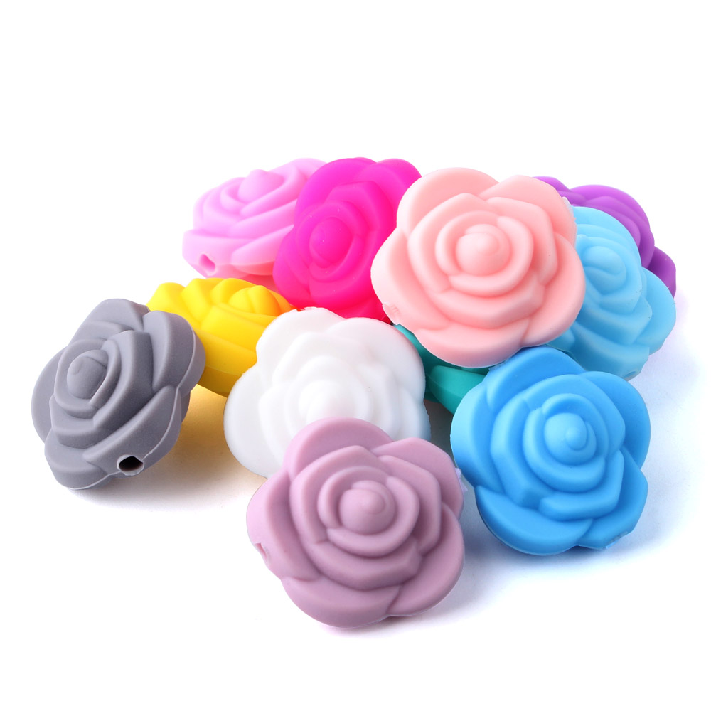 Keep Grow 12pcs 20mm Double-faced Rose Flower Silicone Beads For Necklace Chewable Toy For Teeth Silicone BPA Free