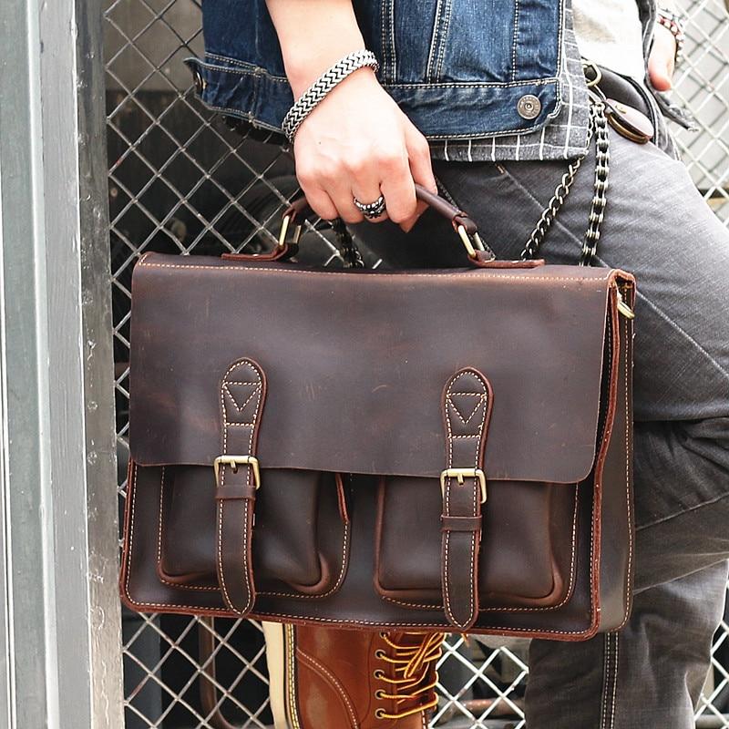 Vintage Natural Genuine Leather Men Briefcase Casual 14