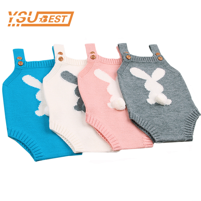 8a3e462c30ab Cute 3D Rabbit Knit Baby Bodysuits 2018 Fall Newborn Girls One Piece ...