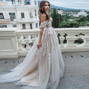 Sexy Sweetheart A Line Lace Appliques Wedding Dresses Off Shoulder Chic Sleeveless Tulle Wedding Gowns Formal Bride Dress 2020 3