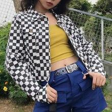 Women Streetwear Kpop Fashion Checkerboard Cropped Plaid Cotton Short Jacket Autumn Harajuku Loose Tumblr Female Coat Outfit INS