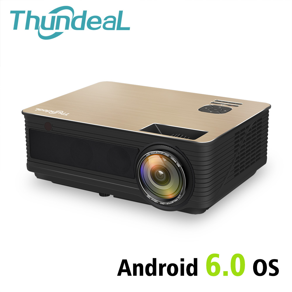 ThundeaL HD proyector TD86 4000 lúmenes Android 6,0 WiFi Bluetooth proyector (opcional) para Full HD 1080 p LED TV proyector de vídeo