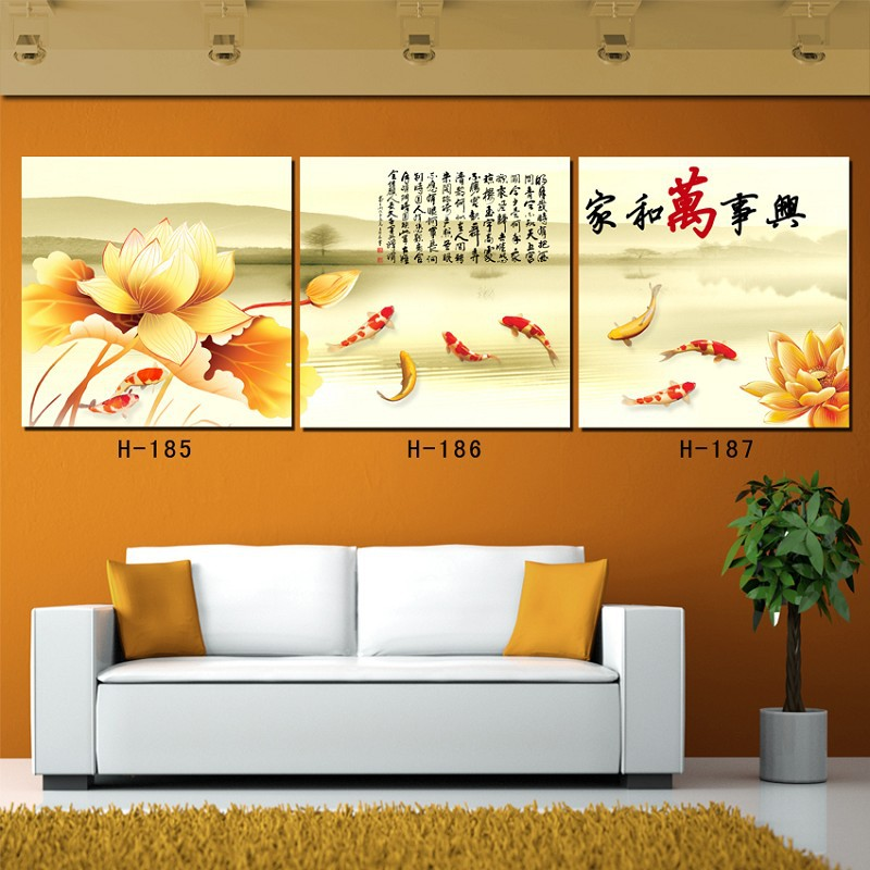 CLSTROSE 3 Pcs Chinese Koi Fish Oil Painting Traditional Chinese ...