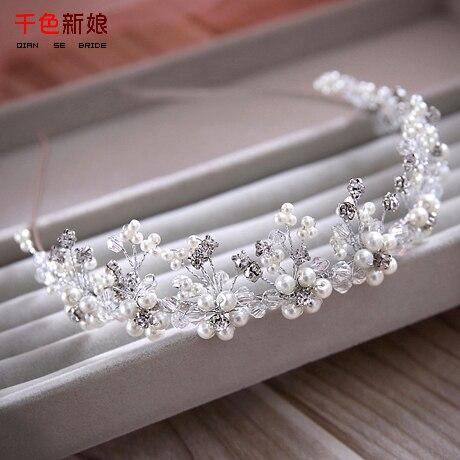 Prix pour Élégant femmes bandeau effacer cristal femmes diadème mariée bijoux en argent perle ornements de cheveux partie de mariage accessoires rumeng