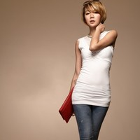 Free Shipping Ladies 2013 Summer Fashion Low Cut Vest Lace Long Tank Tops