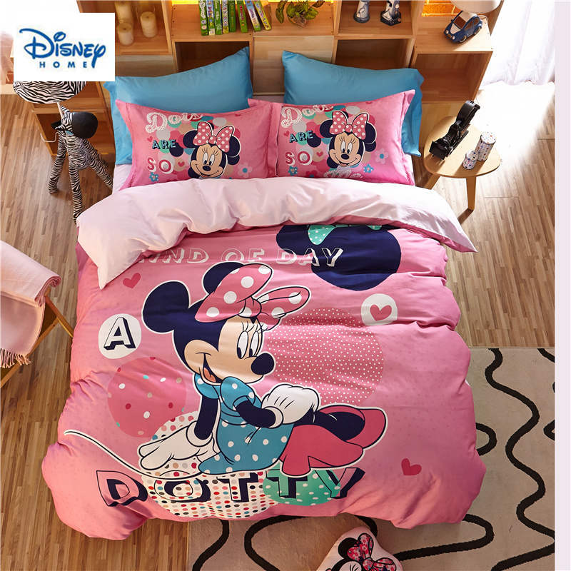 US $86.71 29% OFF|3D pink Minnie mouse bedding set queen size comforter  duvet covers for kids bedroom decor twin bed sheets cotton bedspread  girls-in ...
