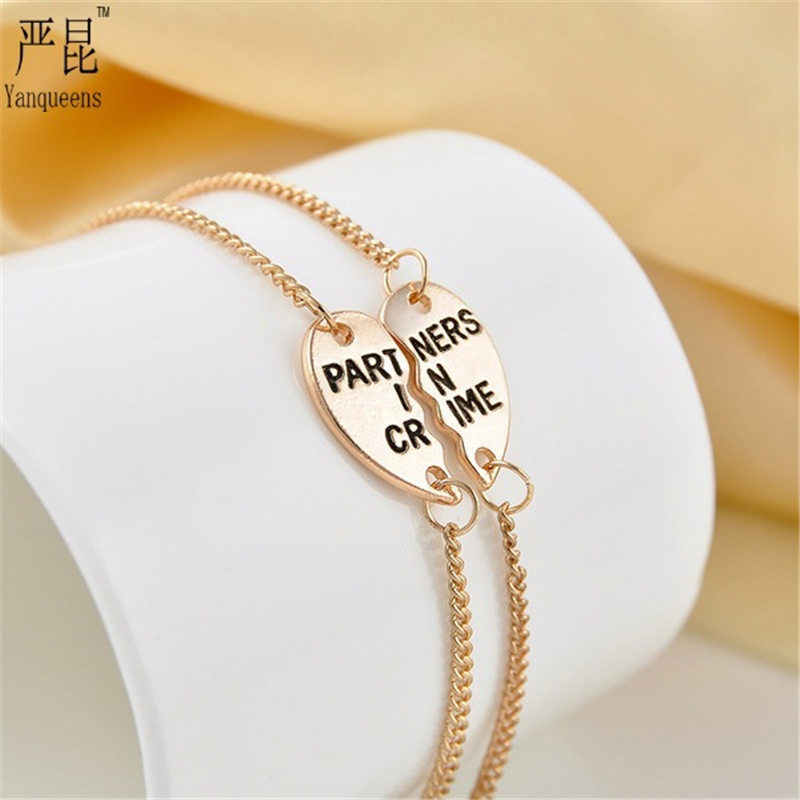 8973f3b10 Sale 1 Pair Unisex Golden Silvery Partners In Crime Hearts Friendship Bracelets  Bangles Fashion Jewelry