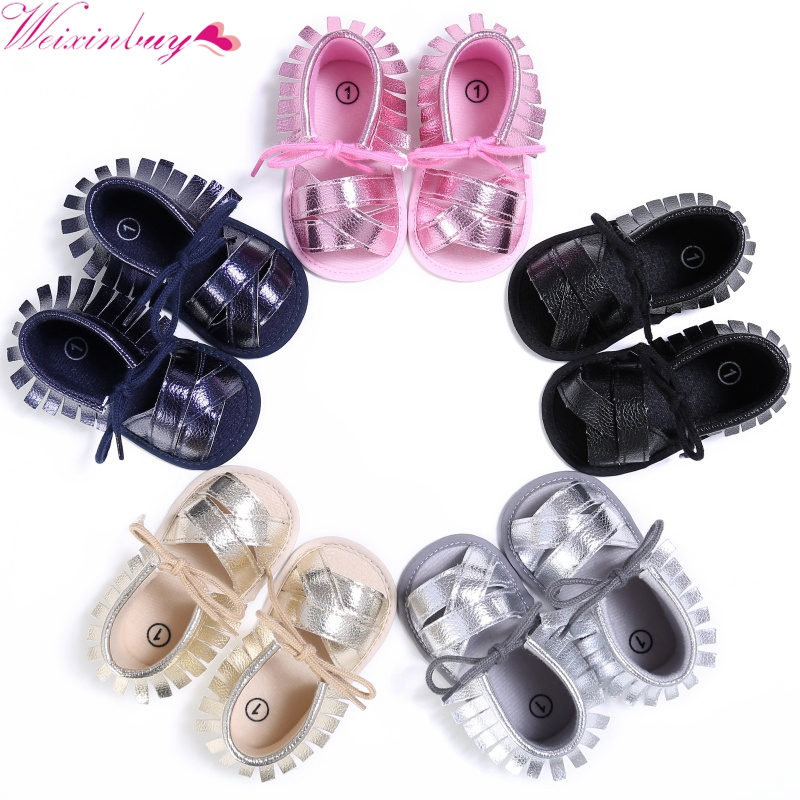 Summer Baby Girls First Walkers PU leather Breathable Hollow Out Anti-slip Newborn Cack Shoes 0-18M