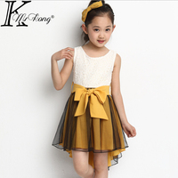 1pc Sale 6 13Y Little Girls Lace Vest Yellow Pink A Line Dress 2014 Summer New