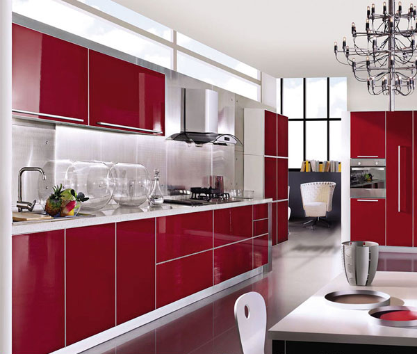 US $2800.0 |Purplish red kitchen cabinet-in Kitchen Cabinets from Home  Improvement on AliExpress