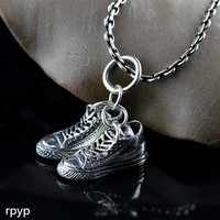 KJJEAXCMY boutique jewelry S925 the new Thai silver hand made men's and women's fashion football shoe pendant