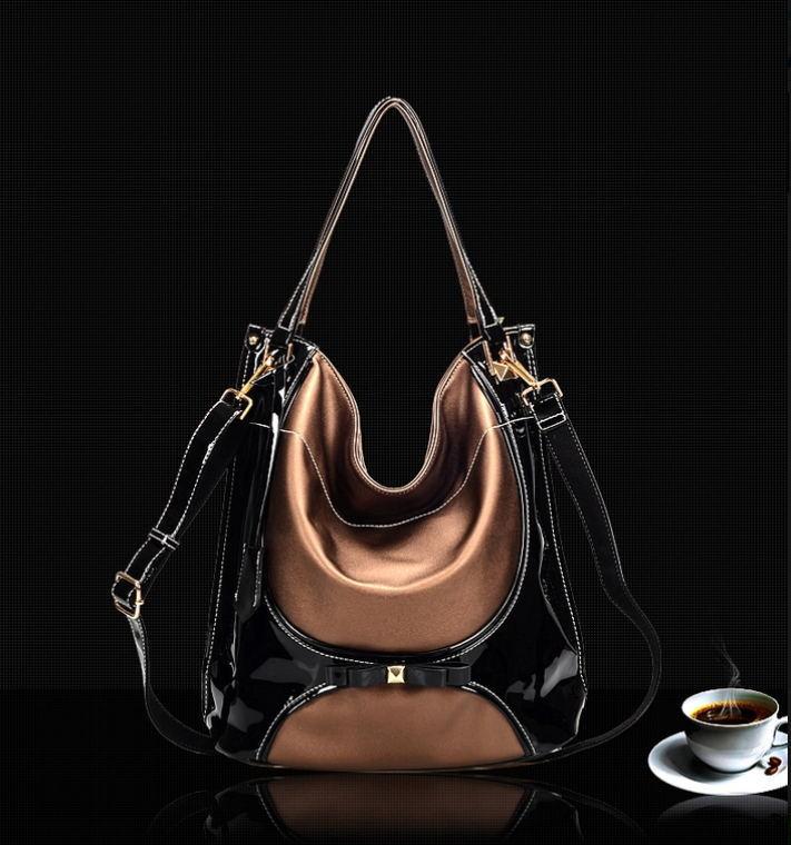 ФОТО Women PU leather handbag  women shoulder bag women leather handbag panelled shoulder bag hot fashion women messenger handbag