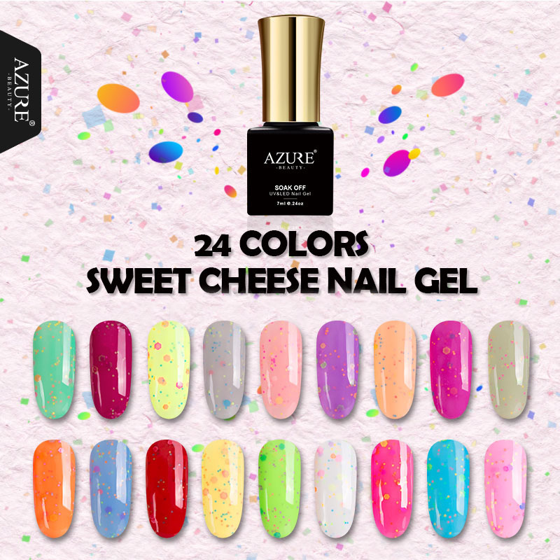 AZURE BEAUTY Gel de queso Esmalte de uñas Colorido Salón de uñas - Arte de uñas