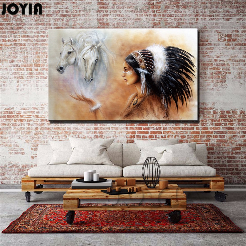 Large wall art canvas indian girl with horses home decor paintings quality picture prints for Home decor paintings for sale india