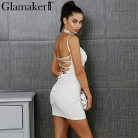 Glamaker Suede Lace Up Sexy Short Dress Women Backless Strap Sleeveless Dress Spaghetti Strap Bodycon Elegant