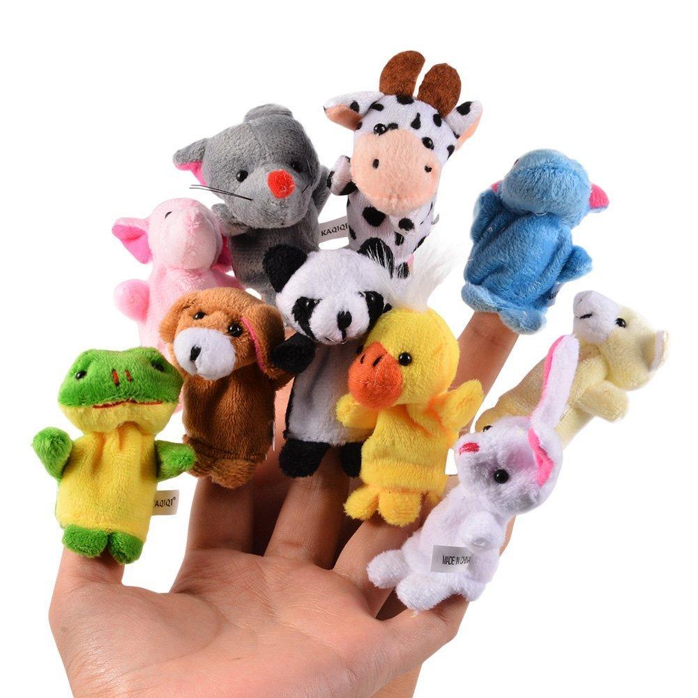 10PCS/Set Cartoon Animal Velvet Finger Puppet Toy Finger Doll Baby Cloth Educational Hand Story Toy