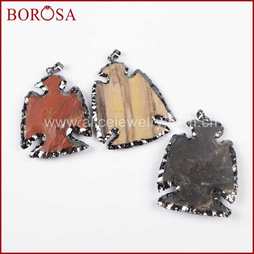 BOROSA ขาย 5/10pcs สีดำปืนแฟชั่นธรรมชาติหยาบ Jaspers แกะสลักจี้หินธรรมชาติอัญมณีเครื่องประดับ B0788